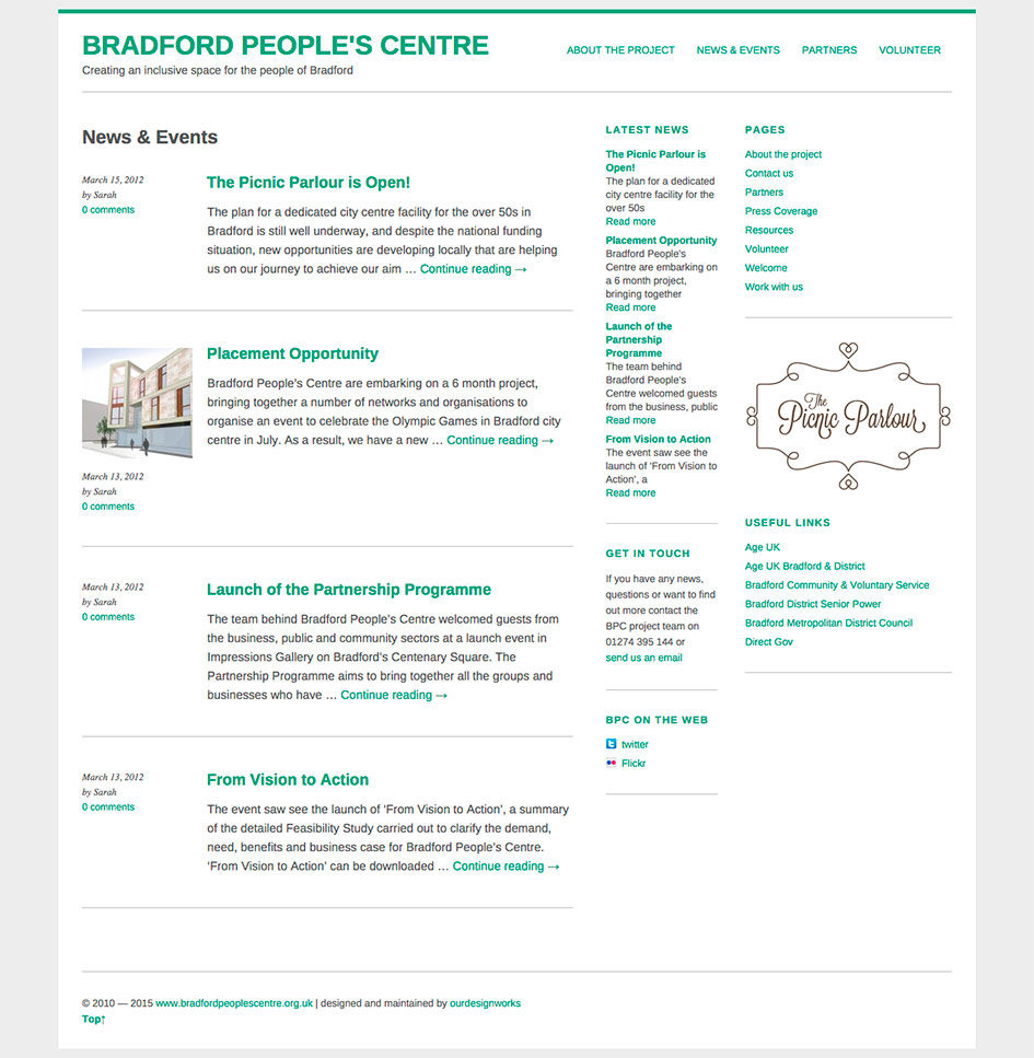 Bradford Peoples Centre Website Digital