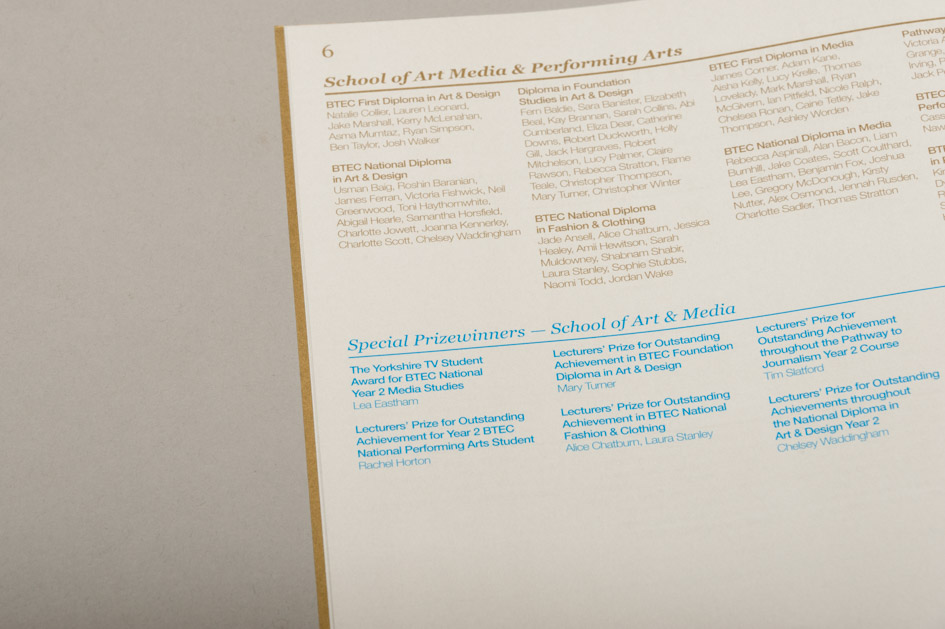 Awards Booklet Print