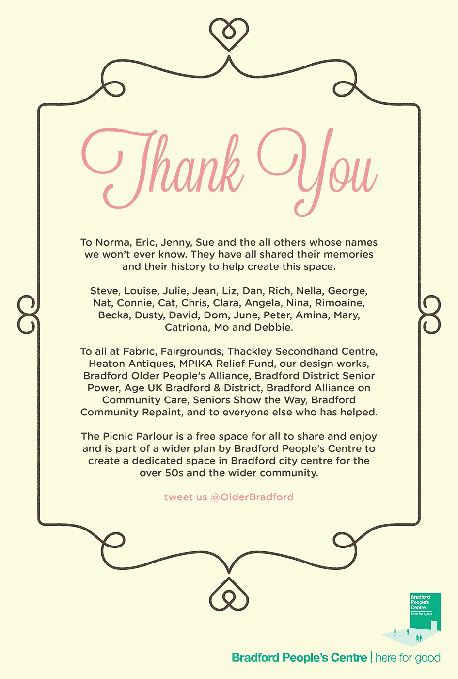 Thank You Poster Picnic Parlour