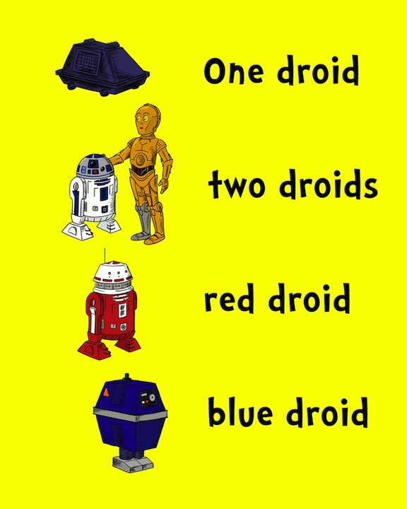 One Droid, Two Droids, Red Droid, Blue Droid Poster Illustration
